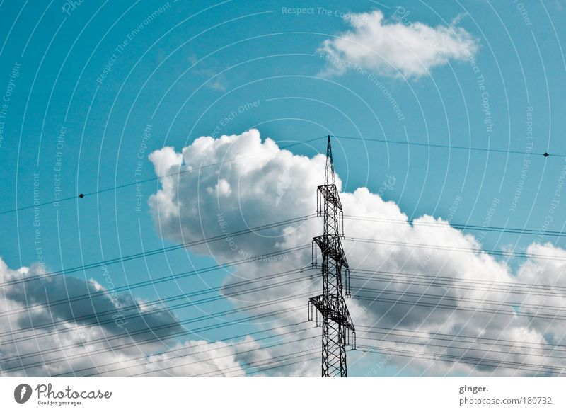 high-current clouds Cable Advancement Future Industry Sky Climate Blue Green Black White Electricity Clouds Electricity pylon Sky blue Technology Deserted