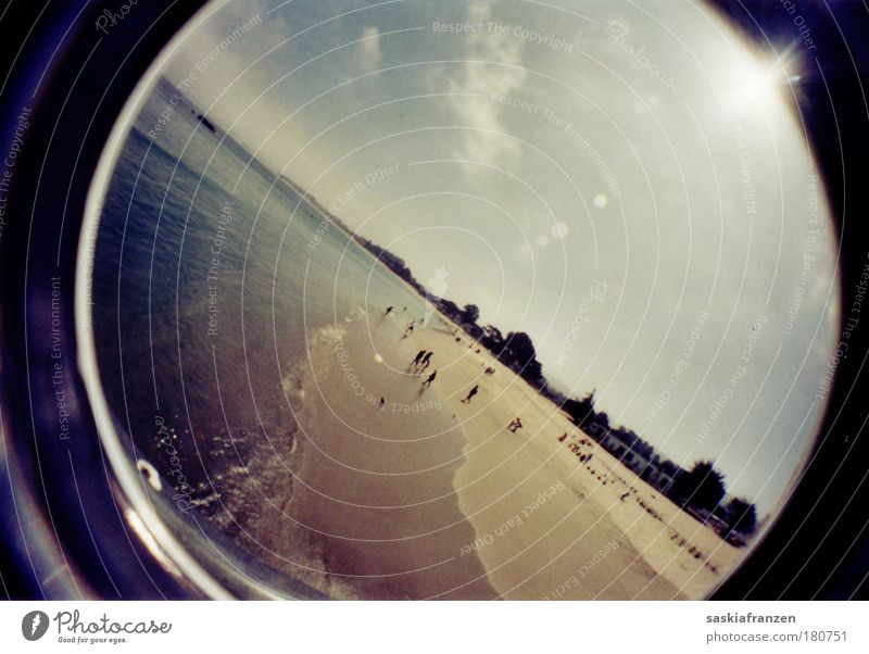 A day by the sea. Colour photo Exterior shot Experimental Reflection Sunlight Sunbeam Fisheye Swimming & Bathing Vacation & Travel Tourism Trip Far-off places