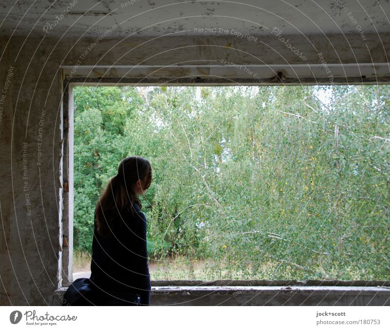 View into the greenery from a lost place Room Young woman 1 Nature Ruin Prefab construction Observe Stand Gray Green Emotions Open View from a window