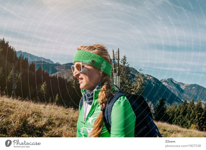 The mountain calls. Hiking Feminine Young woman Youth (Young adults) 1 Human being 18 - 30 years Adults Environment Nature Landscape Alps Mountain Sunglasses