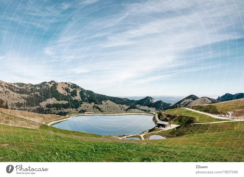 Sudelfeld Reservoir Hiking Nature Landscape Sky Summer Beautiful weather Alps Mountain Lakeside Fresh Gigantic Sustainability Natural Blue Green Relaxation