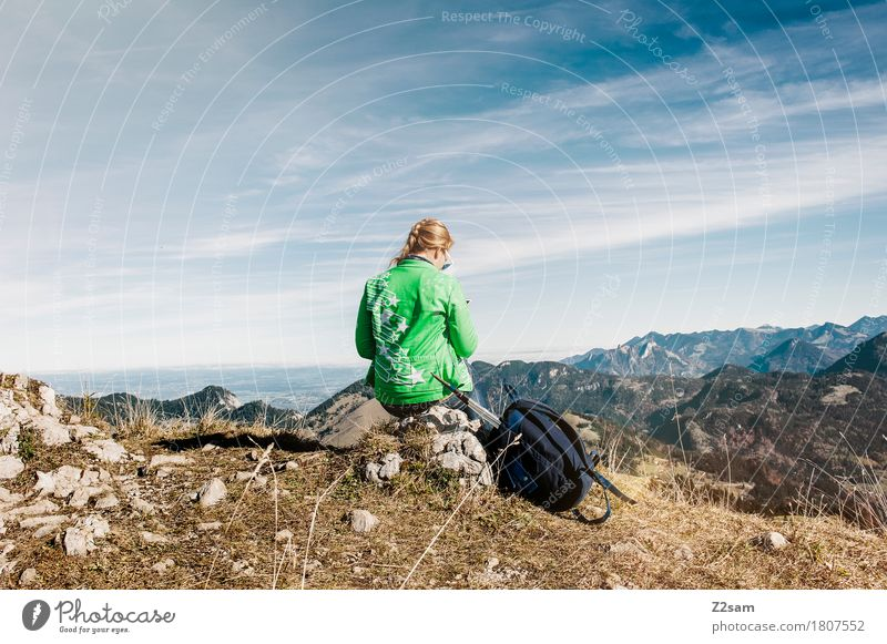 Summit Girl Hiking Climbing Mountaineering Feminine Young woman Youth (Young adults) 1 Human being 18 - 30 years Adults Nature Landscape Sky Autumn Peak Jacket