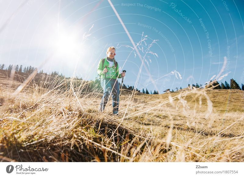 Up and down. Mountain and valley. Hiking Feminine Young woman Youth (Young adults) 1 Human being 18 - 30 years Adults Nature Landscape Sky Grass Hill Sunglasses
