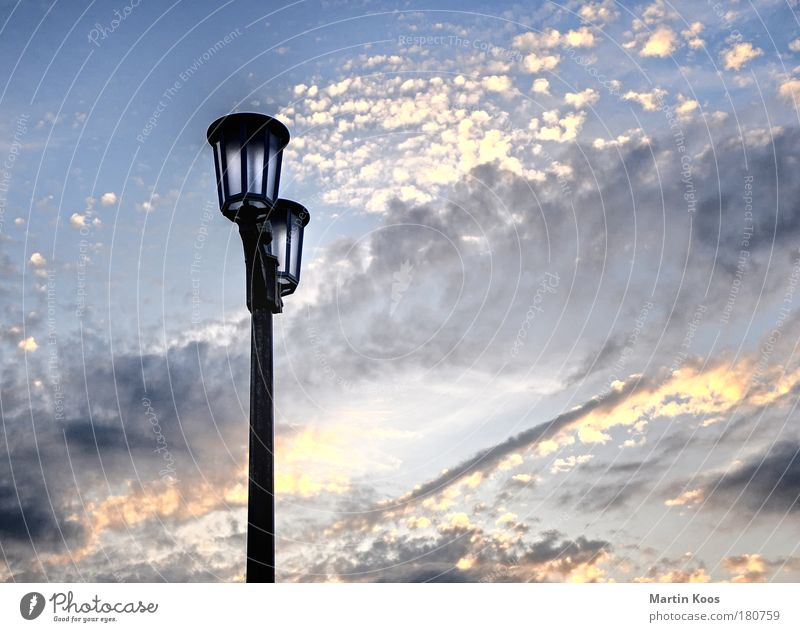 Sky Clouds Freedom Lamp Earth Air Energy Retro Beautiful weather Street lighting Lantern City trip Closing time Going out Infrastructure Candelabra