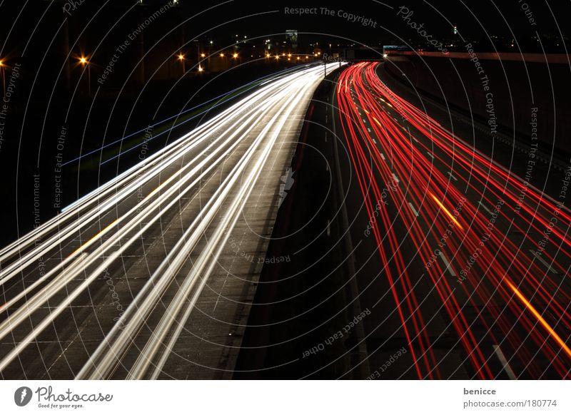 Red-White Highway Light Speed Night Night shot Long exposure Line Curve Road traffic Bird's-eye view