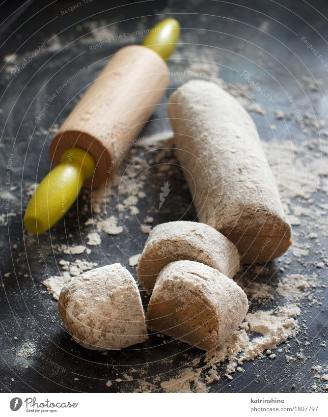 Pieces of raw dough with a knife Fresh Table Tradition Baked goods Meal Dough Cut Raw Ingredients Rustic Self-made Flour Bakery Preparation Tasty Product