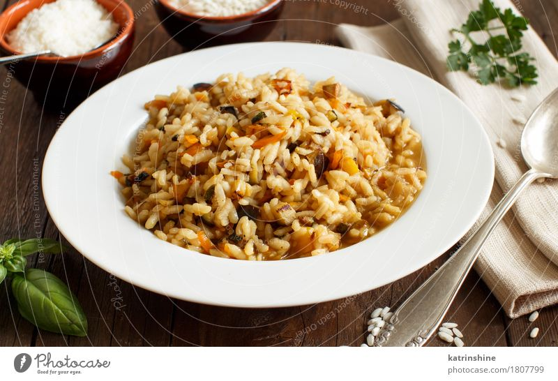 Risotto with vegetables and spices Food Vegetable Grain Dough Baked goods Nutrition Vegetarian diet Diet Italian Food Plate Spoon Healthy Delicious cook Cooking