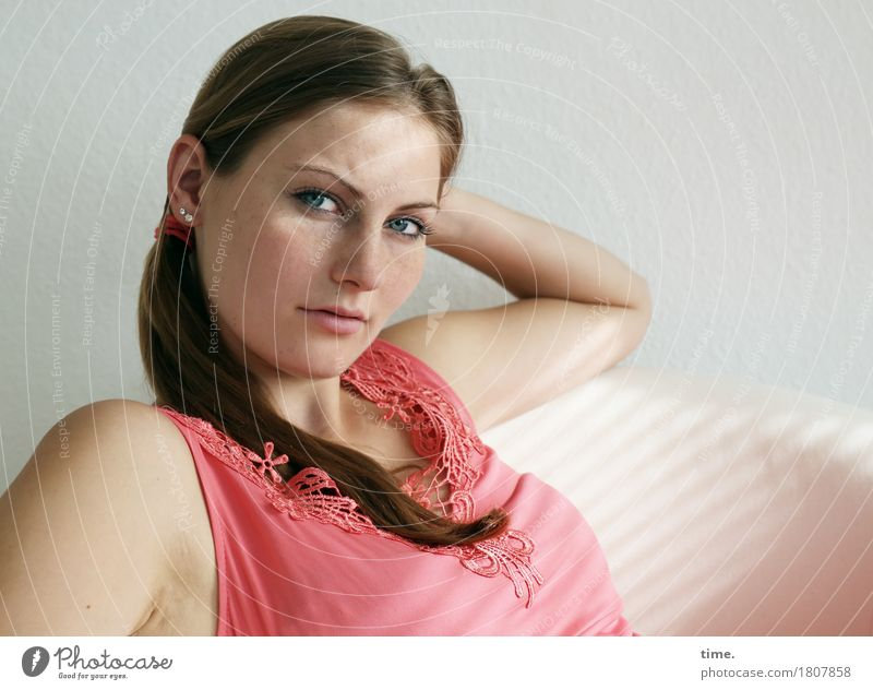 . Armchair Room Feminine 1 Human being Shirt Jewellery Brunette Long-haired Braids Observe Think Looking Sit Wait Beautiful Self-confident Cool (slang)