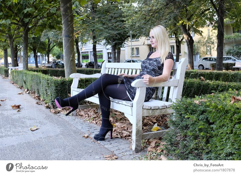 chris_by_photoart Young woman Youth (Young adults) Woman Adults 1 Human being 13 - 18 years Esslingen district Park Park bench Dress Tights High heels Blonde
