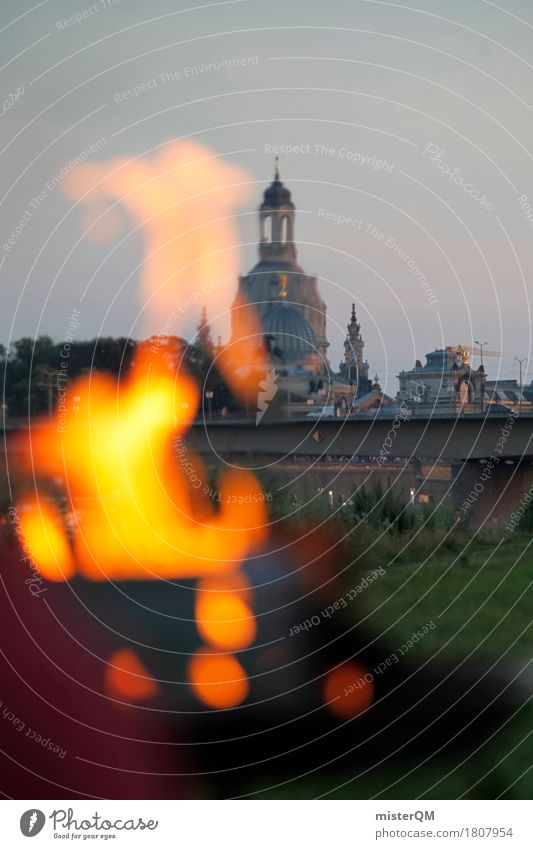 Summer Germany Esthetic Fire Skyline Painting and drawing (object) Barbecue (event) Old town Dresden Home country Summery Womens chruch Summer's day Elbtalaue