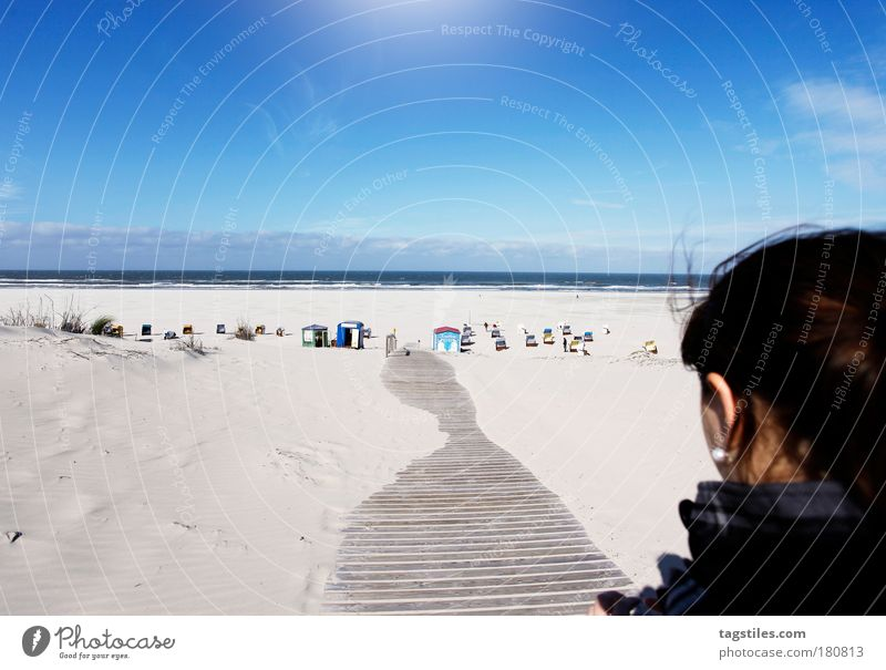 JUST JUIST Juist island Island Woman Colour photo Copy Space top Vacation & Travel Summer sunbathe Sun Footbridge Lanes & trails Beach Beach chair Ocean