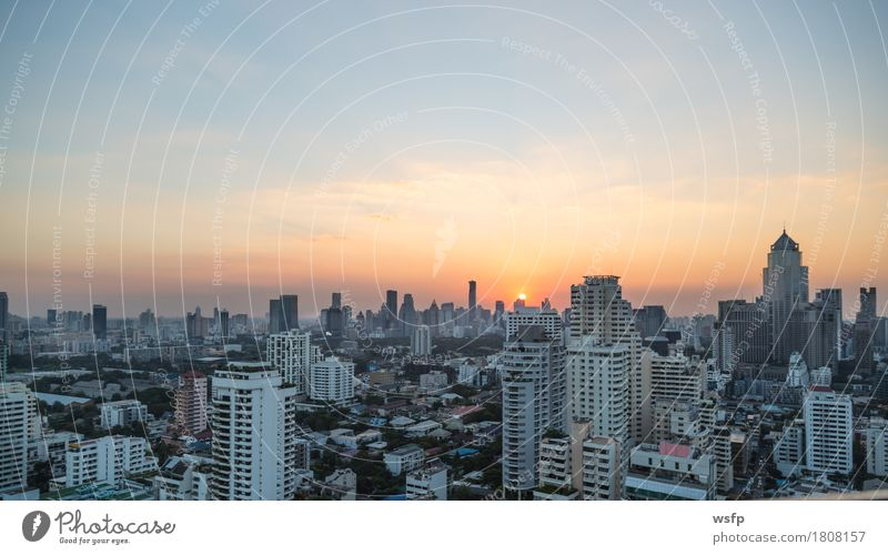 Bangkok skyline at sunset panorama Office Town Downtown Skyline High-rise Architecture Discover Sunset Quarter sukhumvit Bench Asia Thailand City of Angels