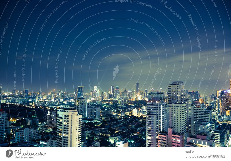 Bangkok skyline at night panorama Office Town Downtown Skyline High-rise Architecture Blue Lighting Quarter sukhumvit Bench Asia Thailand City of Angels