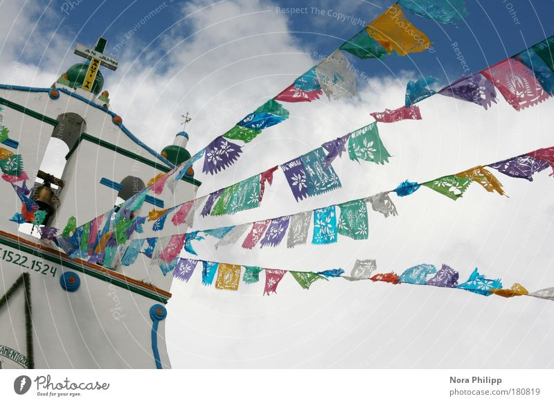Sky Vacation & Travel Clouds Happy Architecture Building Religion and faith Feasts & Celebrations Church Flag Sign Manmade structures Village Crucifix Exotic
