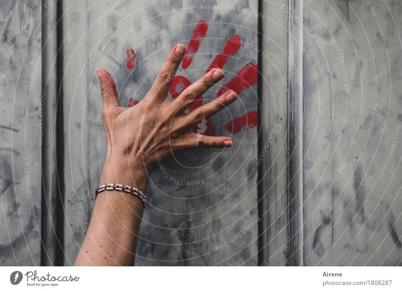 leave traces Feminine Hand Fingers Door Bracelet Jewellery Sign Graffiti Fingerprint Dark Red Horror Fear of death Dangerous Revenge Force Colour Threat Survive