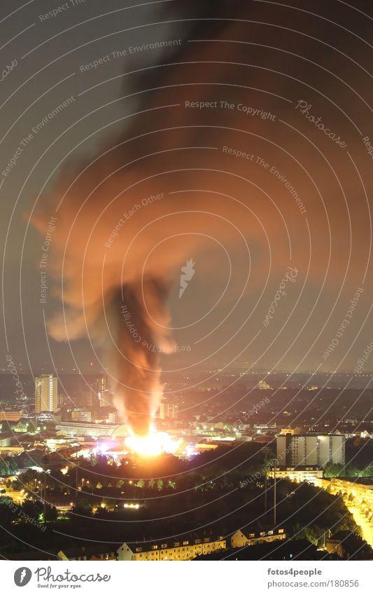 Clouds Dark City Night Fire Threat Night sky Smoke Downtown Rescue Destruction Risk