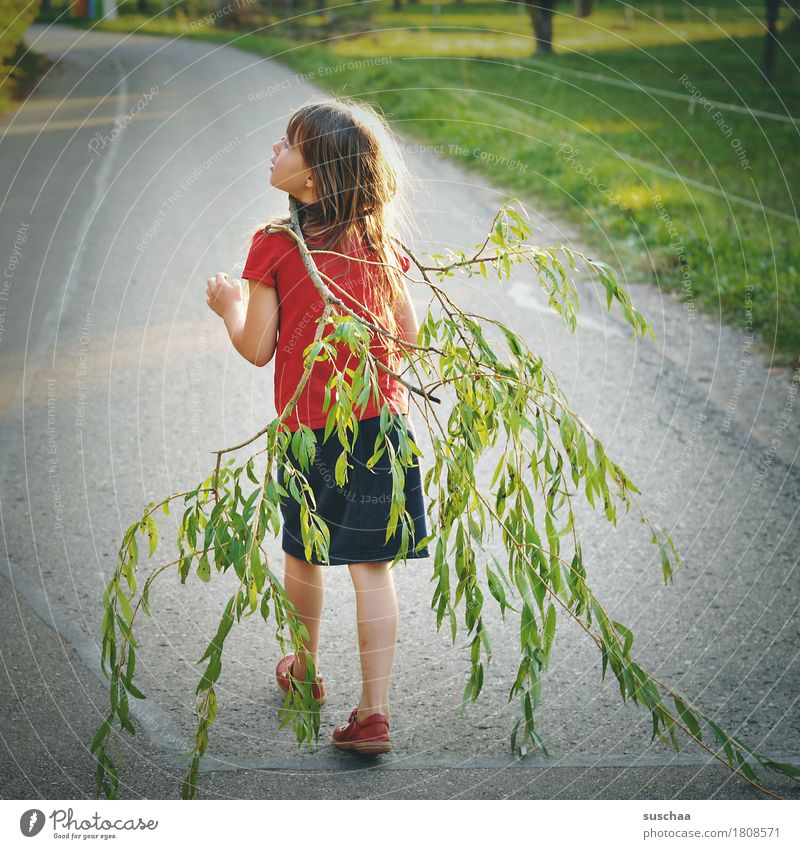 girl who carries a branch for a walk | chamois brawn Child Infancy Summer Street Walking Branch flaked To go for a walk Promenade Trip Parenting Freedom