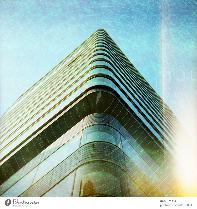 Blue Window Architecture Building Large Modern High-rise Manmade structures Analog Luxury Medium format Cross processing