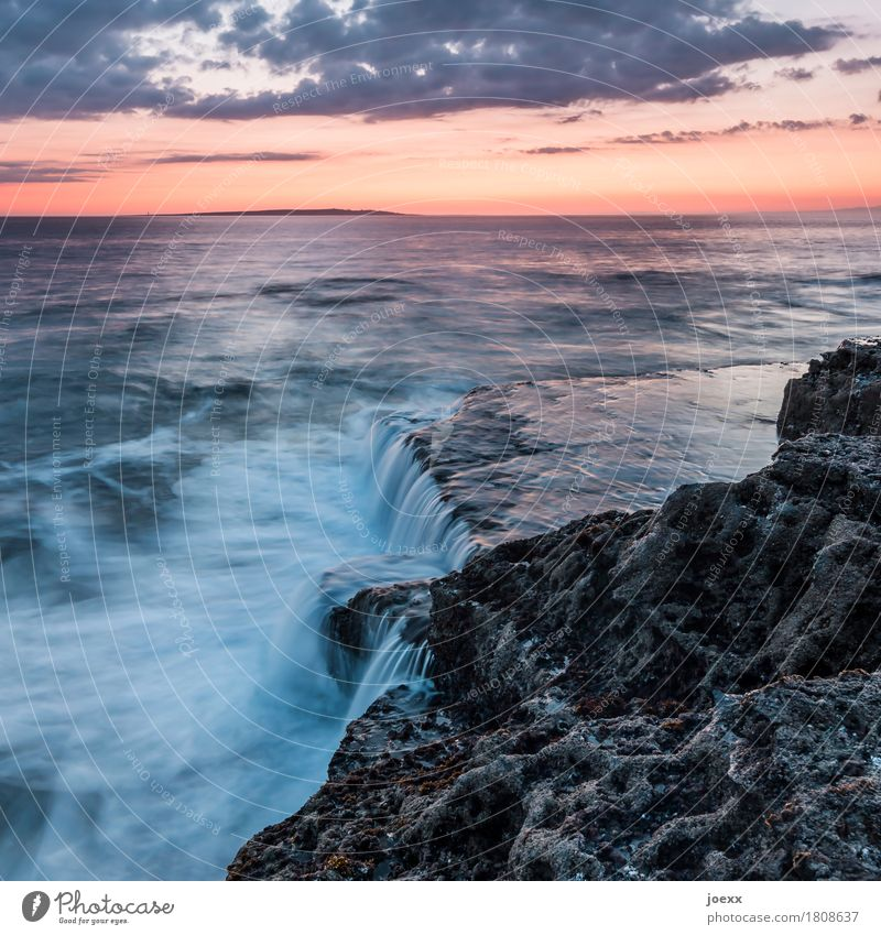 waste Ocean Waves Nature Landscape Water Sky Clouds Sunrise Sunset Beautiful weather Rock Coast Ireland Blue Orange Black White Serene Horizon Colour photo