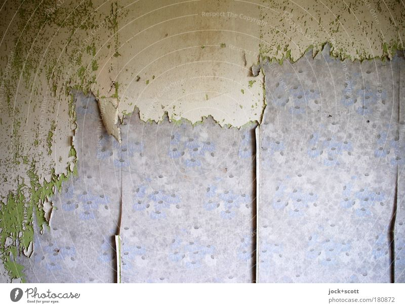 Blue Old Green Loneliness Wall (building) Interior design Wall (barrier) Dirty Living or residing Design Decoration Authentic Broken Paper Change Transience