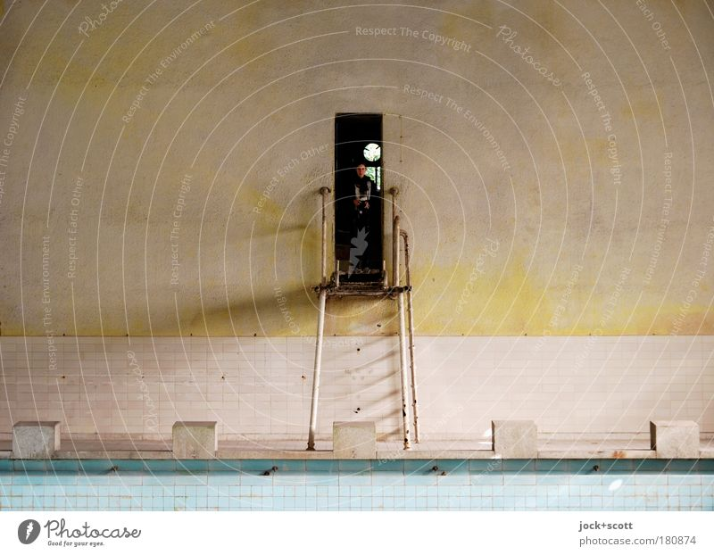 Human being Calm Wall (building) Stone Wall (barrier) Metal Empty Broken Stand Observe Swimming pool Pure Tile Historic Rust Ruin