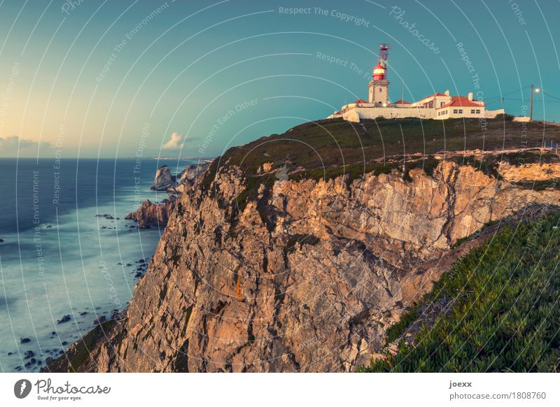 Cabo da Roca Landscape Sky Clouds Beautiful weather Rock Waves Coast Ocean Portugal Lighthouse Tall Blue Brown Multicoloured Green Red White Attentive Safety