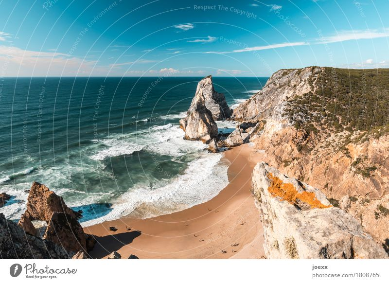 Ursa Beach Vacation & Travel Summer vacation Ocean Waves Human being Life Landscape Water Sky Beautiful weather Rock Coast Bay Gigantic Tall Blue Brown White