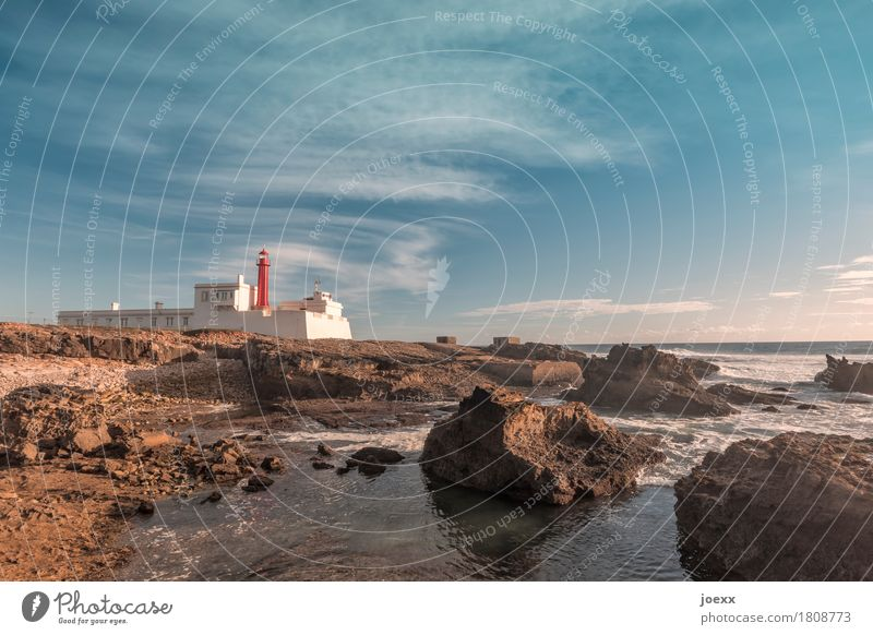 Cabo Raso Sky Horizon Summer Beautiful weather Rock Coast Portugal Lighthouse Old Blue Brown Red White Colour photo Multicoloured Exterior shot Deserted Day