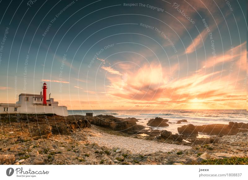 Cabo Raso Landscape Beautiful weather Rock Waves Coast Beach Ocean Portugal Lighthouse Historic Maritime Blue Brown Orange Red White Horizon Safety Colour photo