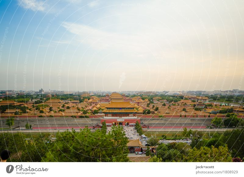 Forbidden city Far-off places City trip Cinese architecture Air Sky Downtown Old town Palace Quarter Tourist Attraction Landmark Famousness Simple Historic Town