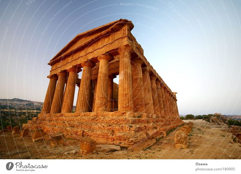 Sky Blue Heaven Far-off places Architecture Building Horizon Manmade structures Italy Ruin Column Destruction Ancient Greece Temple