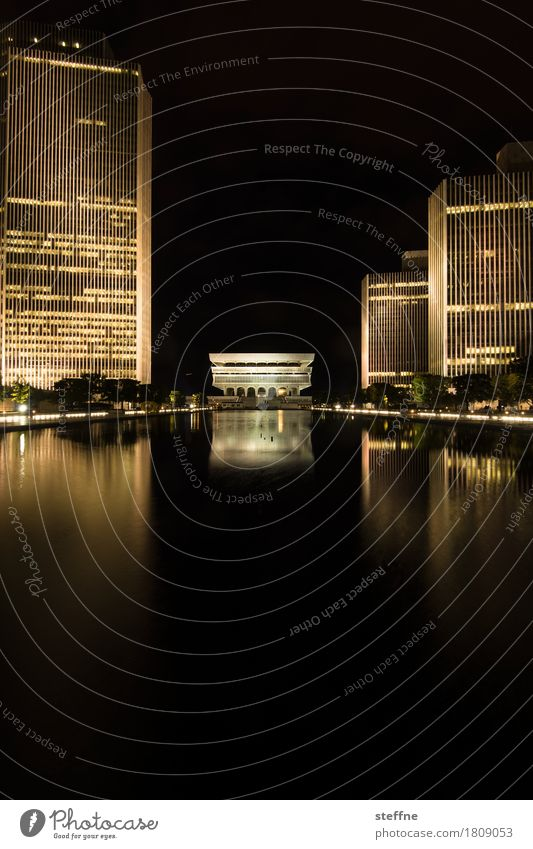 Empire State Plaza High-rise Esthetic Exceptional Town albany New York Reflection Water basin empire state plaza Colour photo Exterior shot Deserted