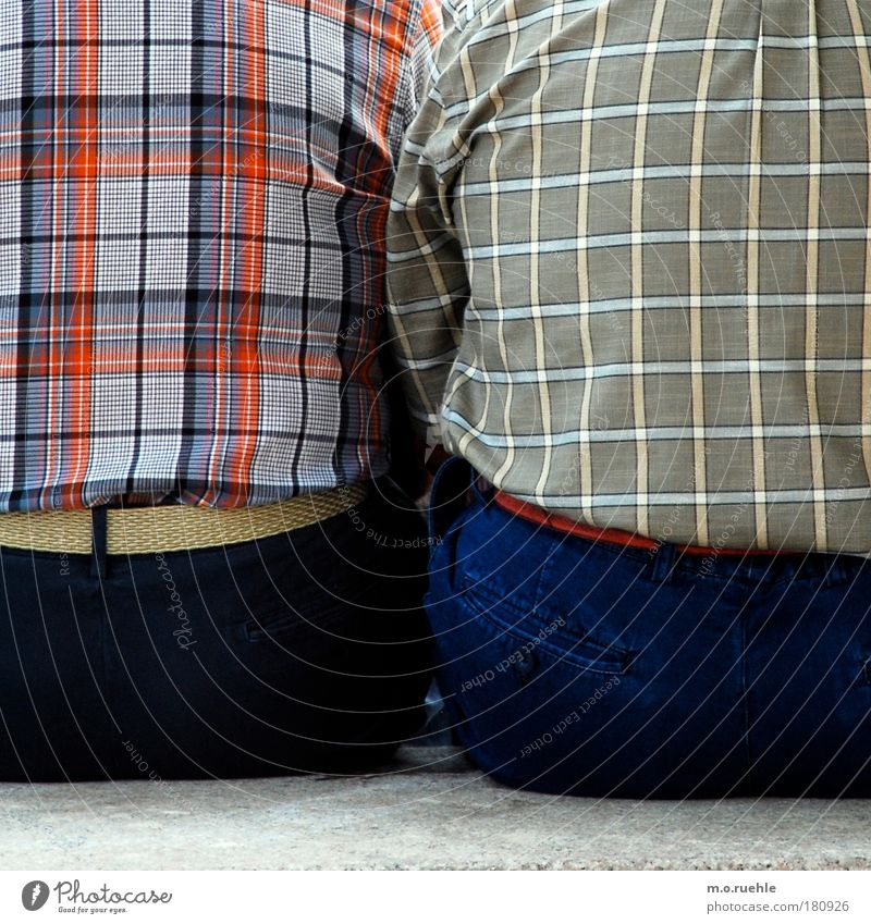 chequered Colour photo Exterior shot Detail Pattern Structures and shapes Copy Space bottom Day Contrast Upper body Rear view Looking away Human being Masculine