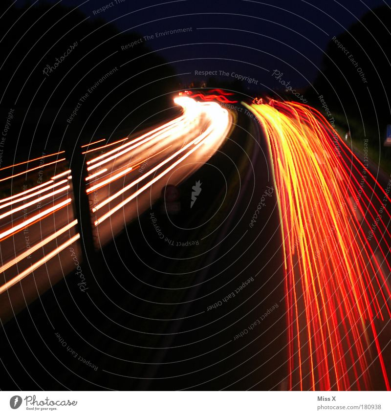Street Bright Transport Speed Driving Tracks Long Traffic infrastructure Vehicle Motoring Night sky Road traffic Traffic jam Means of transport Going out High spirits