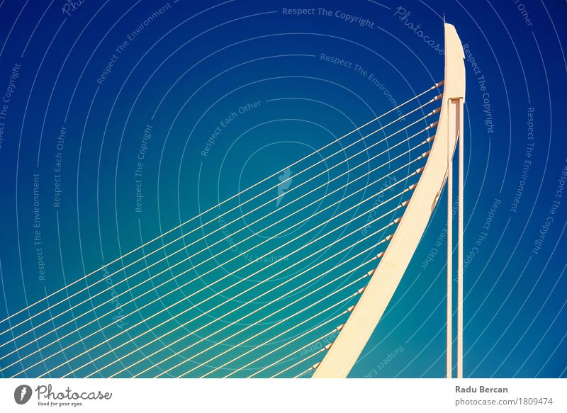 White Abstract Bridge Structure On Sky City Blue Colour Beautiful Architecture Style Building Art Exceptional Freedom Tourism Design Metal Contentment