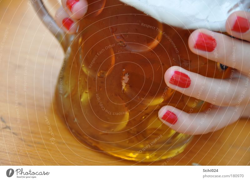 Youth (Young adults) Hand Beautiful Red Joy Relaxation Feminine Cold Wood Glass Esthetic Drinking To hold on Touch Beer Gastronomy