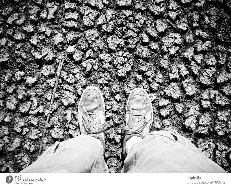 looking down Black & white photo Detail Pattern Structures and shapes Day Contrast Bird's-eye view Earth Sand Climate change Drought Desert Footwear Sneakers