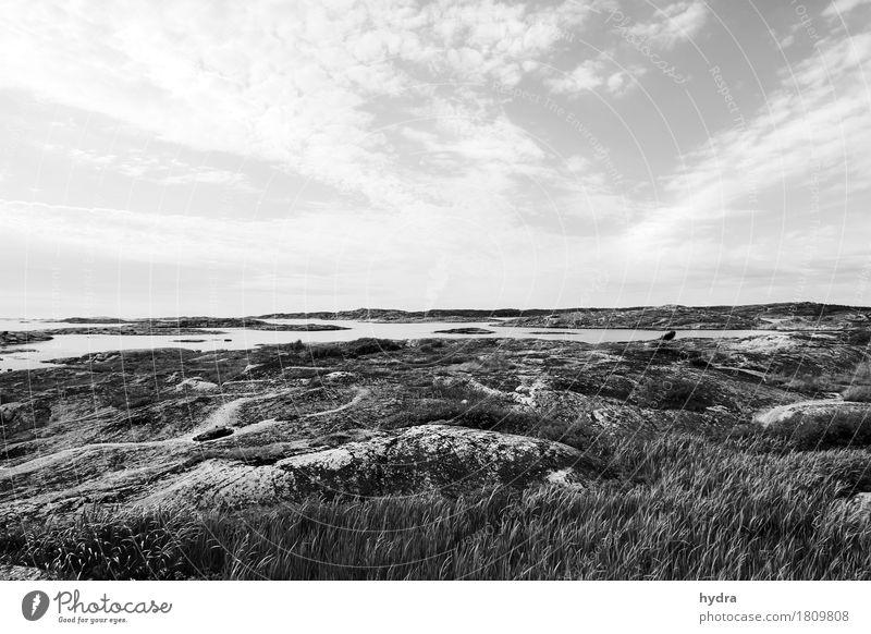 Wide archipelago landscape in Sweden in black and white Ocean Landscape Elements Air Sky Clouds Wind Rock Coast Bay Fjord Reef Baltic Sea Island Gloomy Wild