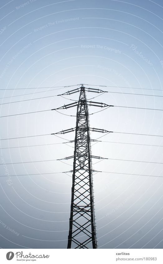 Power pole | CO2 ... I am so free Colour photo Exterior shot Copy Space top Neutral Background Energy industry Energy crisis Sunlight Fog Carrying Firm Gigantic