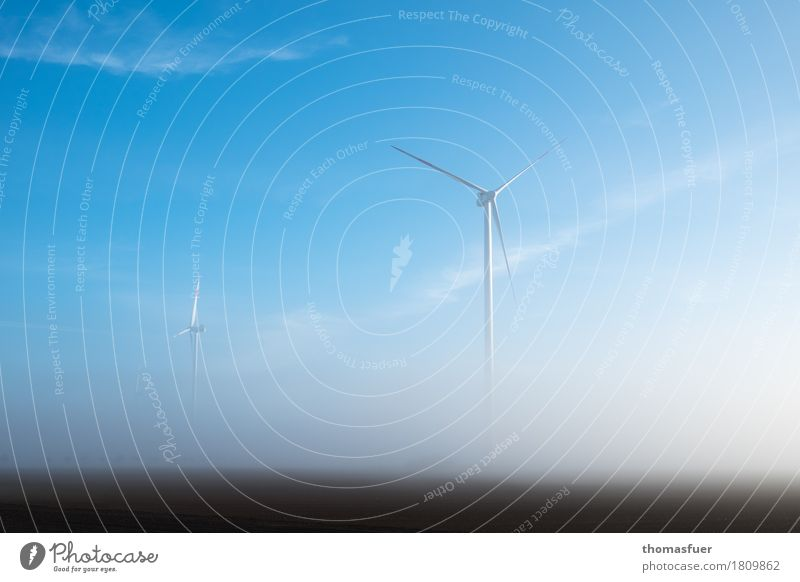 Wind turbines in fog Energy industry Advancement High-tech Renewable energy Wind energy plant Environment Nature Landscape Sky Sunrise Climate Climate change