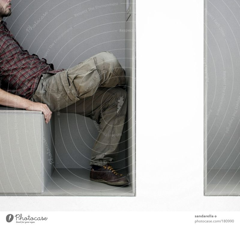 Human being Man White Relaxation Gray Wait Adults Design Sit Chair Observe Interior design To hold on Furniture Museum Niche