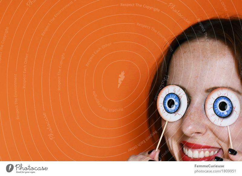 Halloween 1809951 Joy Feminine Young woman Youth (Young adults) Woman Adults Eyes Mouth Human being 18 - 30 years Joie de vivre (Vitality) Hallowe'en Orange