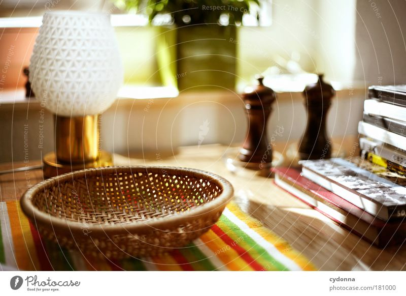 kitchen table Colour photo Interior shot Close-up Detail Deserted Day Light Shadow Contrast Sunlight Deep depth of field Long shot Living or residing