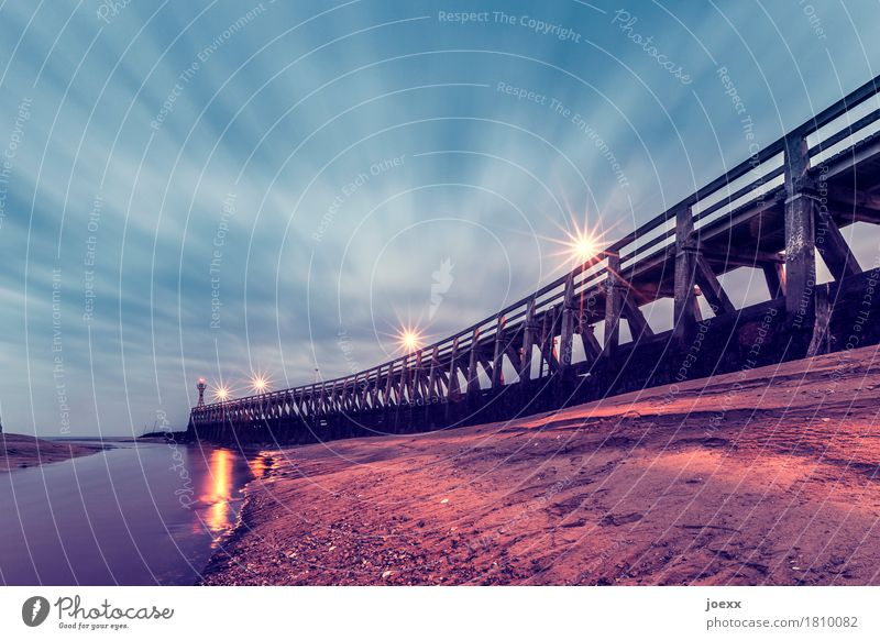 Like the very first time. Sky Clouds Courseulles-sur-Mer France Small Town Bridge Lighthouse Large Blue Brown Black Homesickness Wanderlust Horizon Idyll Future