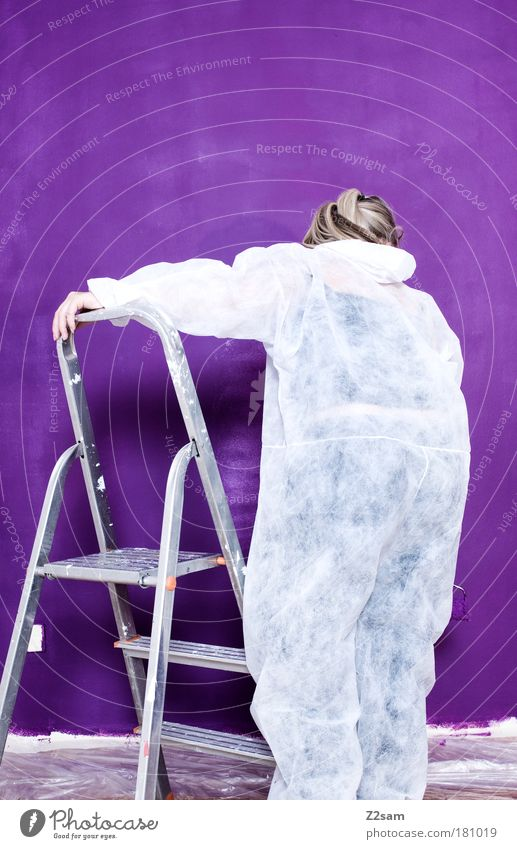 Human being Colour Wall (building) Work and employment Blonde Flat (apartment) Modern Painting (action, work) Violet Suit Brave Effort Long-haired Paintbrush