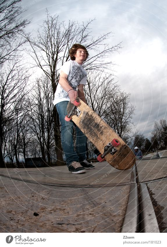 I was on it once. Colour photo Exterior shot Worm's-eye view Lifestyle Style Leisure and hobbies Skateboard Human being Masculine Driving Jump Cool (slang)