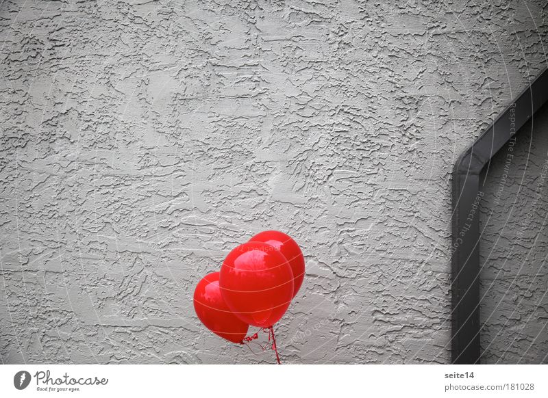 Grey Burgundy Colour photo Deserted Copy Space left Copy Space top Neutral Background Day Wall (barrier) Wall (building) Facade Authentic Gray Red Ease Balloon