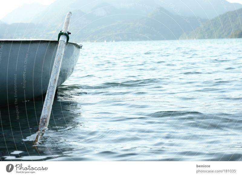 Nature Blue Summer Vacation & Travel Calm Lake Landscape Watercraft Empty Romance Austria Harmonious Rowing Rowboat