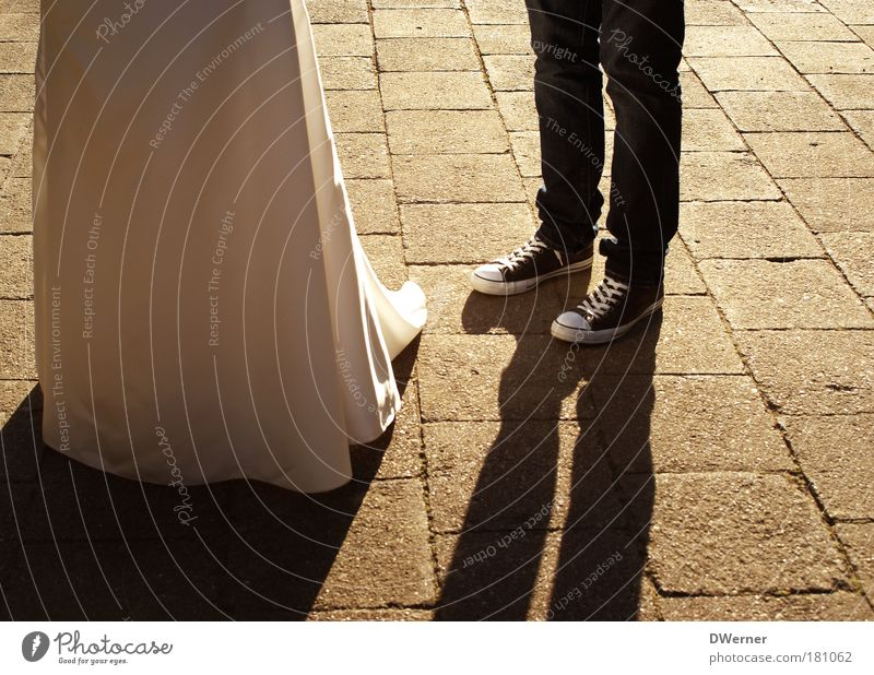 just married II Elegant Joy Happy Contentment Event Feasts & Celebrations Masculine Feminine Young woman Youth (Young adults) Young man Couple Partner Legs