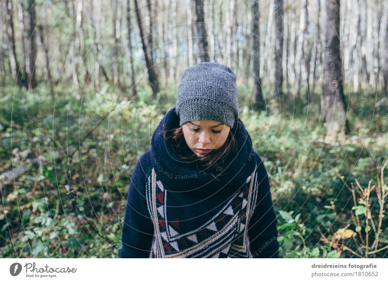 In the birch forest Style Feminine Young woman Youth (Young adults) Birch wood Forest Wool jacket Scarf Cap Freeze Cold Emotions Moody Sadness Concern Grief